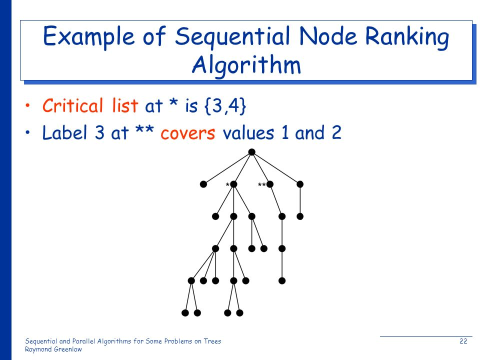 Sequential and Parallel Algorithms for Some Problems on Trees Raymond Greenlaw 22 Example of Sequential Node Ranking Algorithm Critical list at * is {3,4} Label 3 at ** covers values 1 and 2