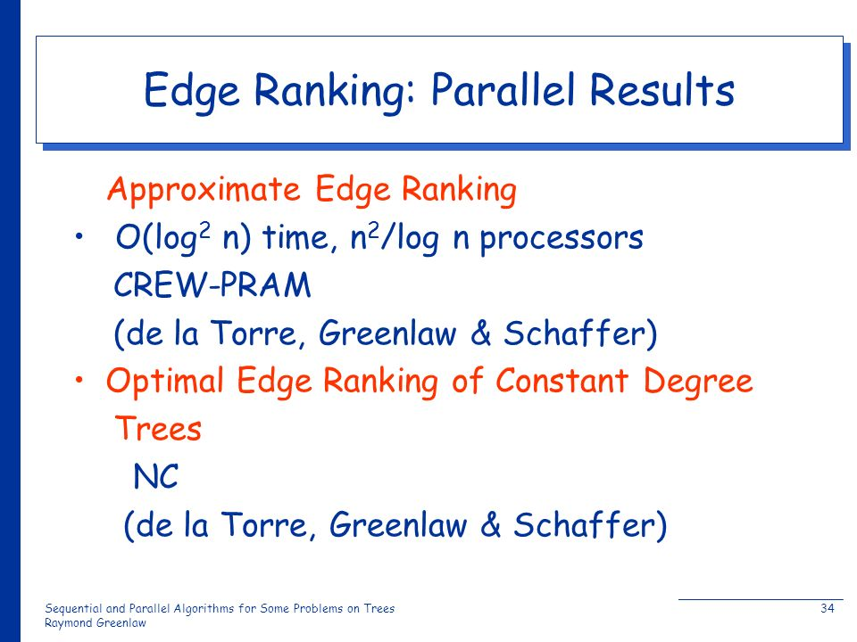 Sequential and Parallel Algorithms for Some Problems on Trees Raymond Greenlaw 34 Edge Ranking: Parallel Results Approximate Edge Ranking O(log 2 n) time, n 2 /log n processors CREW-PRAM (de la Torre, Greenlaw & Schaffer) Optimal Edge Ranking of Constant Degree Trees NC (de la Torre, Greenlaw & Schaffer)