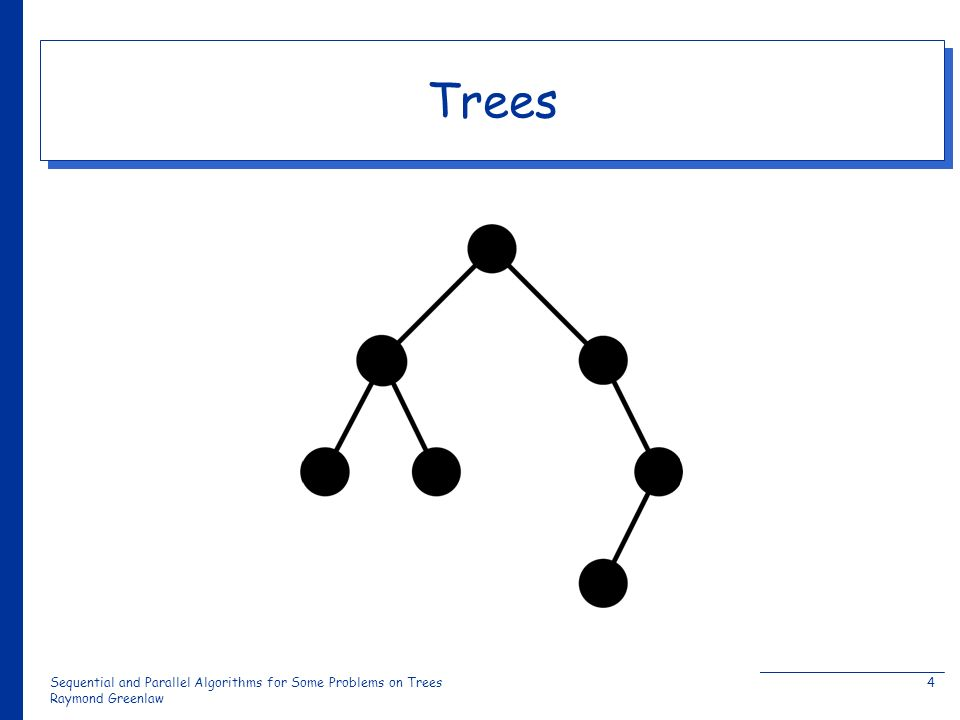 Sequential and Parallel Algorithms for Some Problems on Trees Raymond Greenlaw 4 Trees