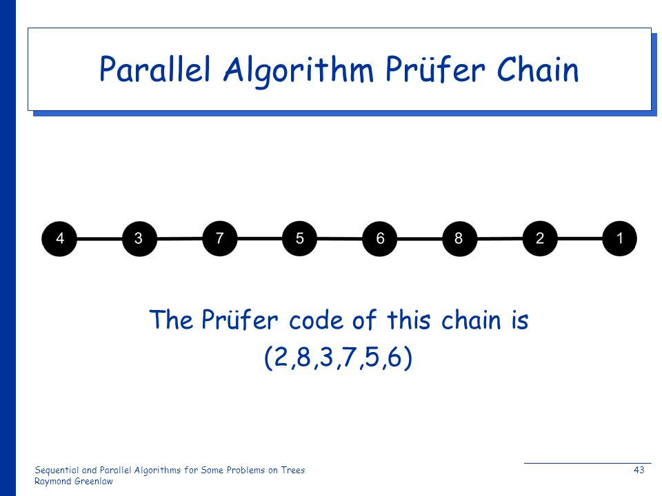 Sequential and Parallel Algorithms for Some Problems on Trees Raymond Greenlaw 43 Parallel Algorithm Prüfer Chain The Prüfer code of this chain is (2,8,3,7,5,6)