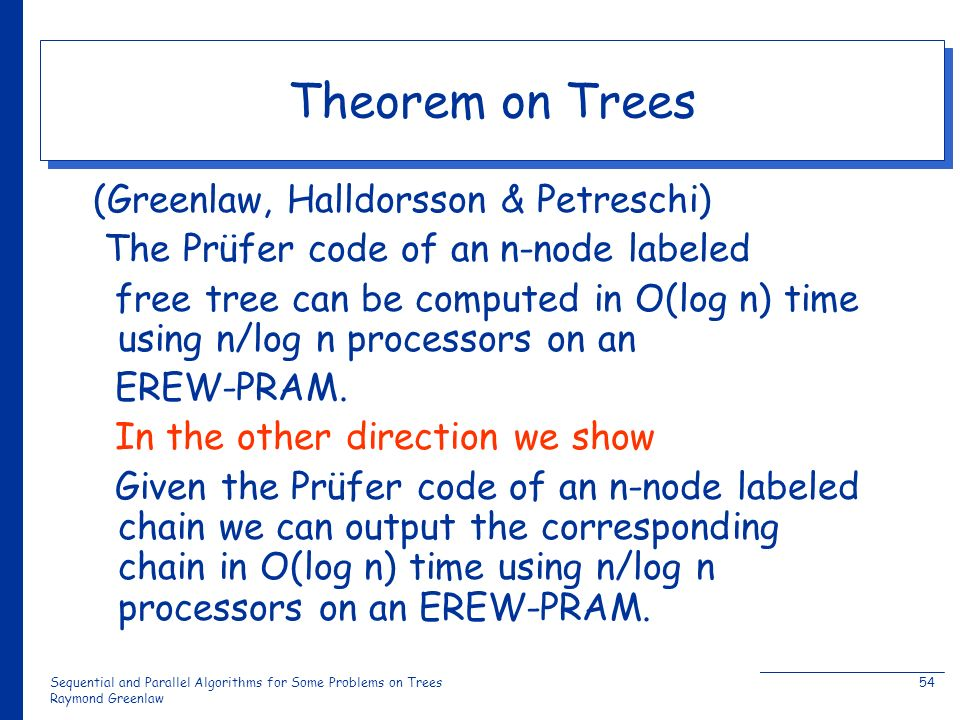 Sequential and Parallel Algorithms for Some Problems on Trees Raymond Greenlaw 54 Theorem on Trees (Greenlaw, Halldorsson & Petreschi) The Prüfer code of an n-node labeled free tree can be computed in O(log n) time using n/log n processors on an EREW-PRAM.