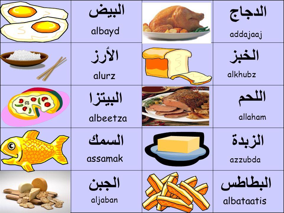 البيض albayd اللحم allaham الدجاج addajaaj الجبن aljaban الخبز الزبدة azzubda alkhubz الٲرز alurz السمك assamak البطاطس albataatis البيتزا albeetza