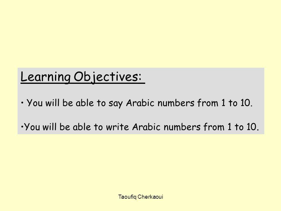 Write the following numbers in Arabic Taoufiq Cherkaoui