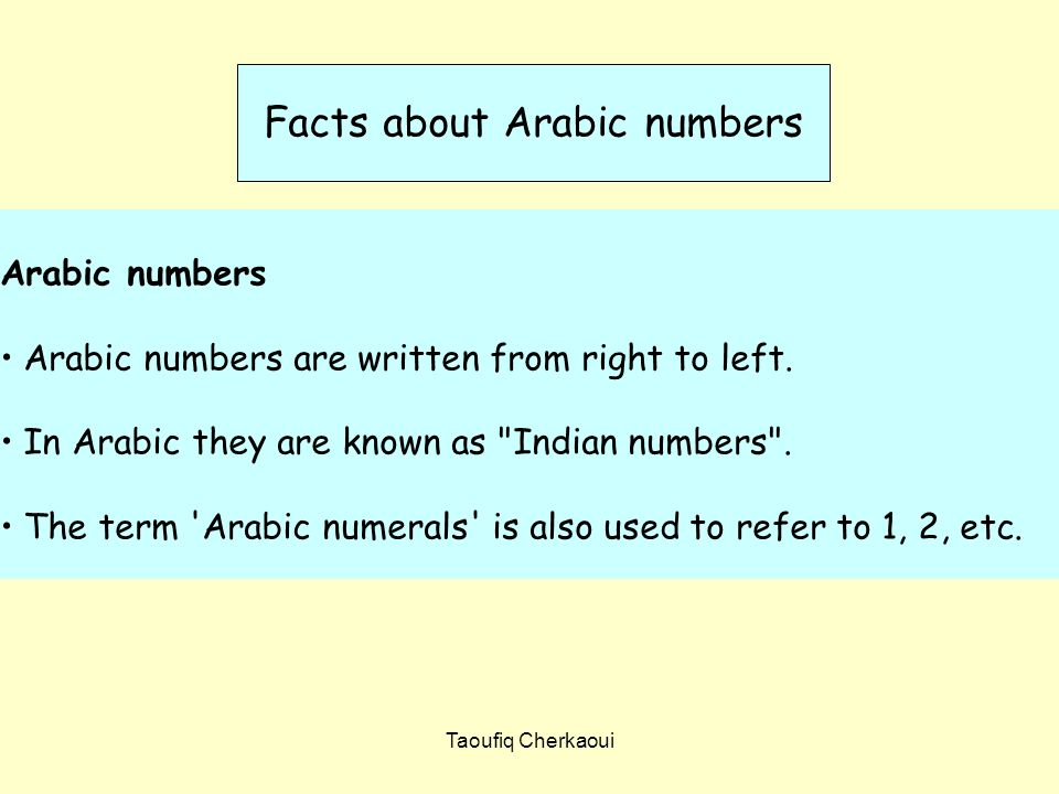 Arabic numbers Arabic numbers are written from right to left.