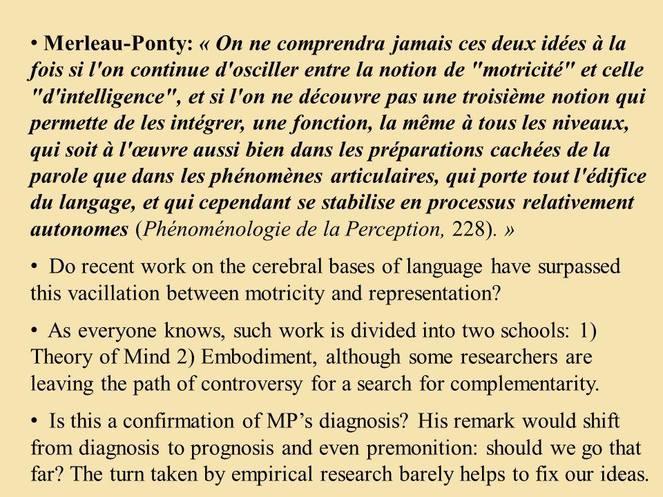 11 Merleau-Ponty: « On ne comprendra jamais ces deux idées à la fois si l on continue d osciller entre la notion de motricité et celle d intelligence , et si l on ne découvre pas une troisième notion qui permette de les intégrer, une fonction, la même à tous les niveaux, qui soit à l œuvre aussi bien dans les préparations cachées de la parole que dans les phénomènes articulaires, qui porte tout l édifice du langage, et qui cependant se stabilise en processus relativement autonomes (Phénoménologie de la Perception, 228).
