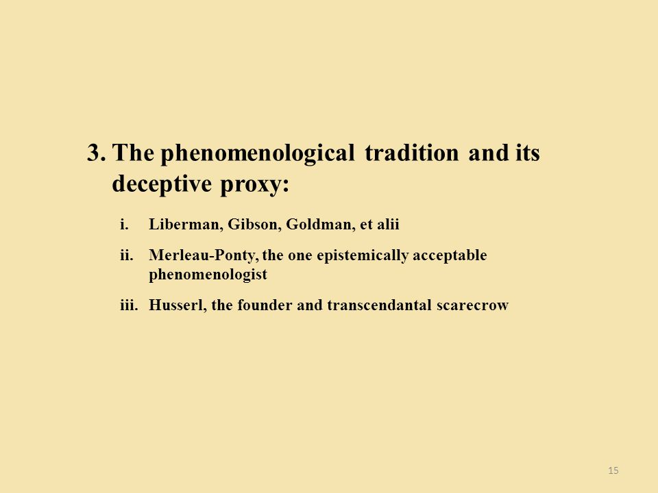 15 3.The phenomenological tradition and its deceptive proxy: i.Liberman, Gibson, Goldman, et alii ii.Merleau-Ponty, the one epistemically acceptable p
