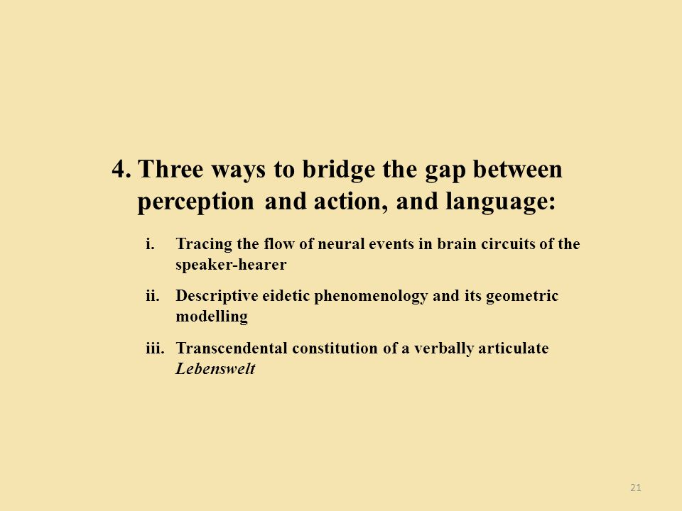 21 4.Three ways to bridge the gap between perception and action, and language: i.Tracing the flow of neural events in brain circuits of the speaker-hearer ii.Descriptive eidetic phenomenology and its geometric modelling iii.Transcendental constitution of a verbally articulate Lebenswelt