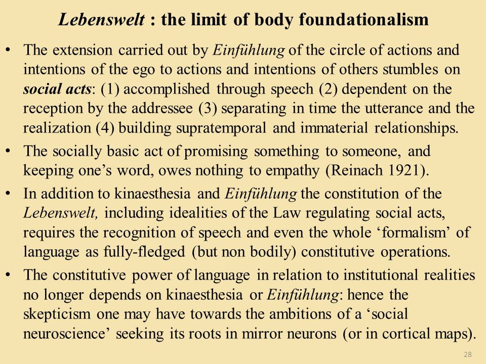 Lebenswelt : the limit of body foundationalism The extension carried out by Einfühlung of the circle of actions and intentions of the ego to actions a