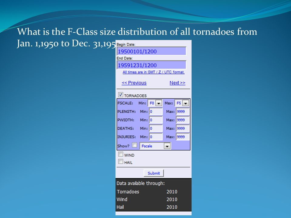 What is the F-Class size distribution of all tornadoes from Jan. 1,1950 to Dec. 31,1959?