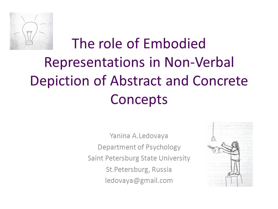 The role of Embodied Representations in Non-Verbal Depiction of Abstract and Concrete Concepts Yanina A.Ledovaya Department of Psychology Saint Petersburg State University St.Petersburg, Russia ledovaya@gmail.com