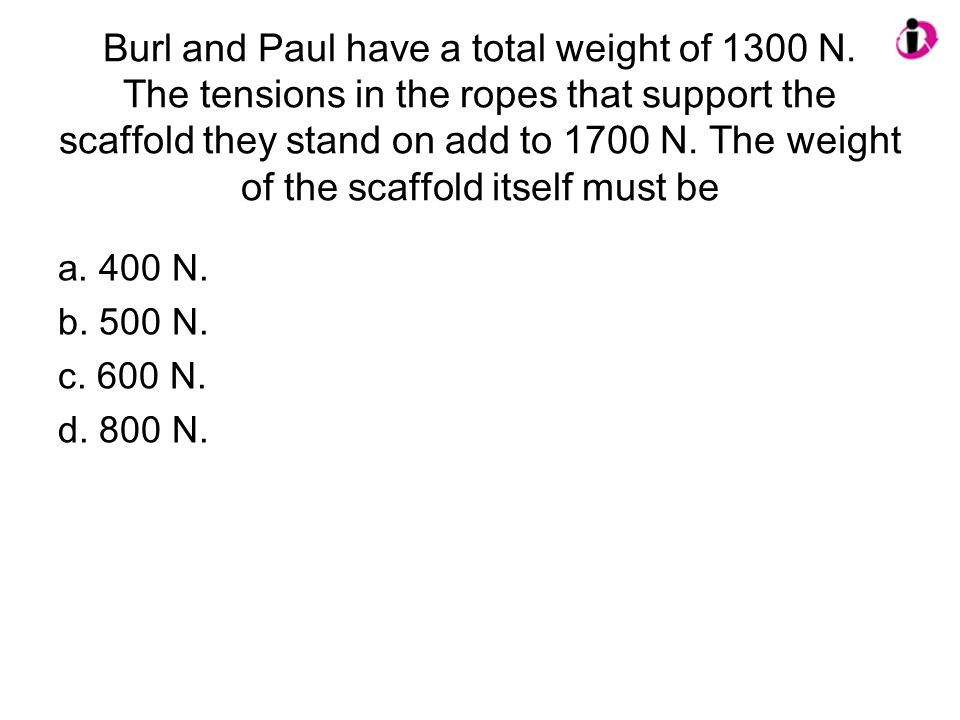 Burl and Paul have a total weight of 1300 N. The tensions in the ropes that support the scaffold they stand on add to 1700 N. The weight of the scaffo