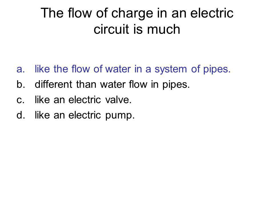 The flow of charge in an electric circuit is much a.like the flow of water in a system of pipes. b.different than water flow in pipes. c.like an elect