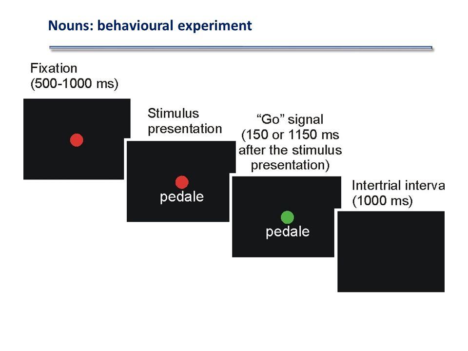 Nouns: behavioural experiment