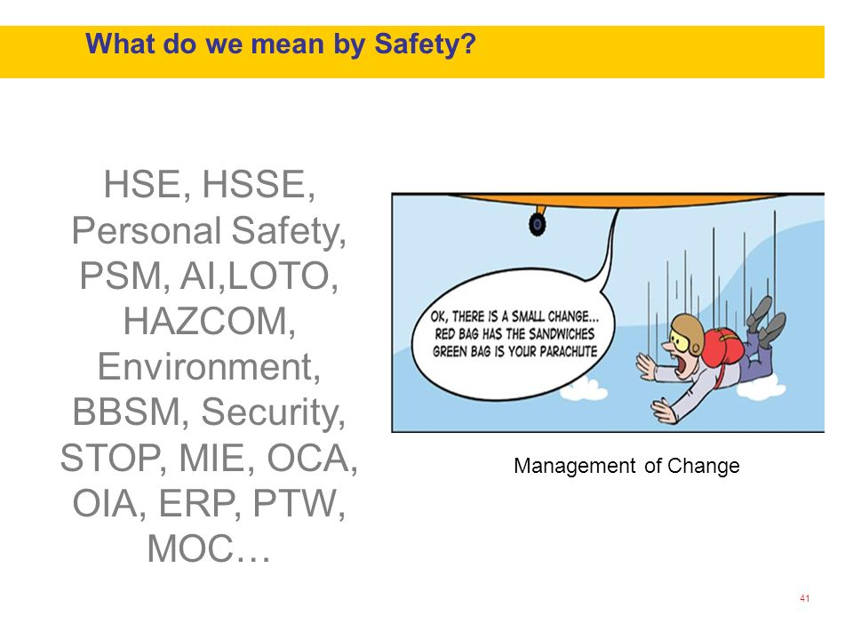 What do we mean by Safety? 41 HSE, HSSE, Personal Safety, PSM, AI,LOTO, HAZCOM, Environment, BBSM, Security, STOP, MIE, OCA, OIA, ERP, PTW, MOC… Manag