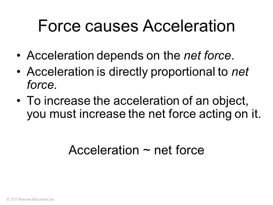 © 2010 Pearson Education, Inc. Acceleration ~ net force Force causes Acceleration Acceleration depends on the net force. Acceleration is directly prop