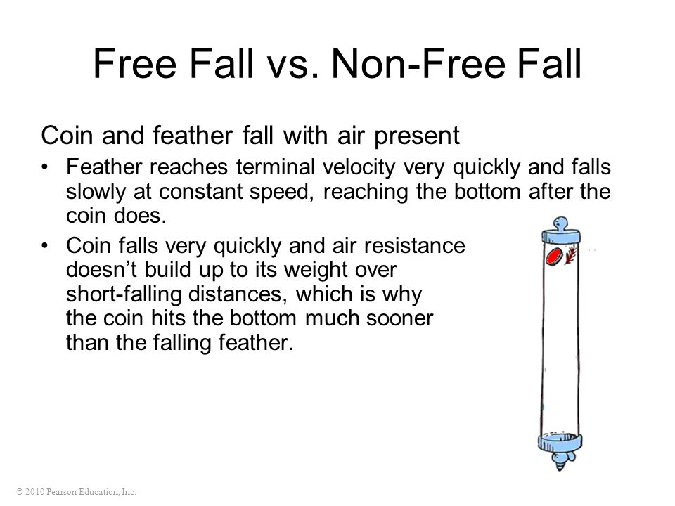 © 2010 Pearson Education, Inc. Free Fall vs. Non-Free Fall Coin and feather fall with air present Feather reaches terminal velocity very quickly and f