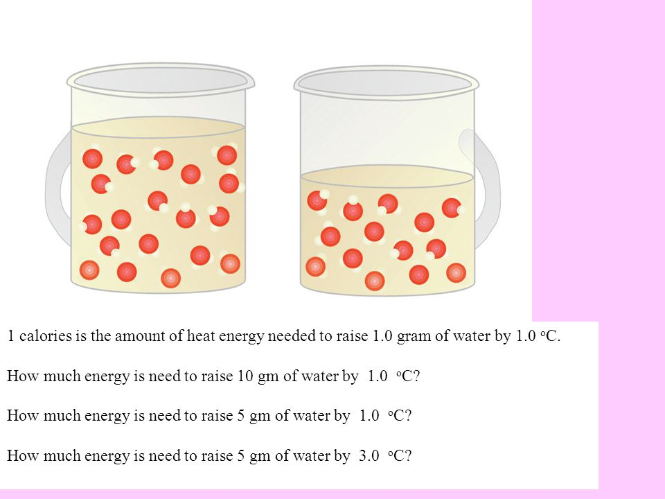 How much energy is need to raise 10 gm of water by 1.0 o C.
