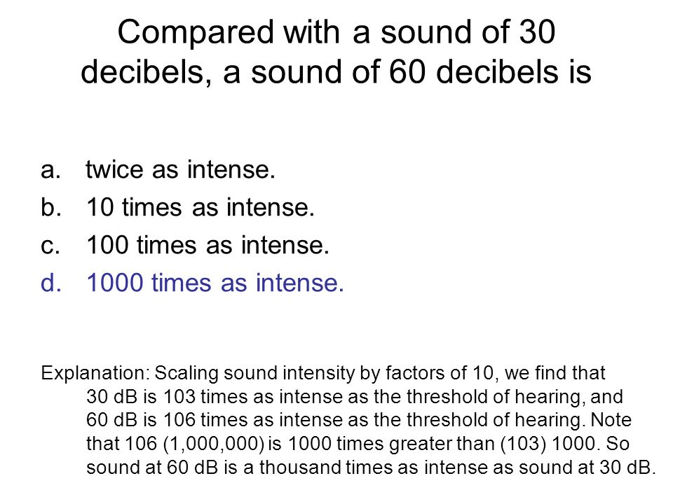 Compared with a sound of 30 decibels, a sound of 60 decibels is a.twice as intense. b.10 times as intense. c.100 times as intense. d.1000 times as int