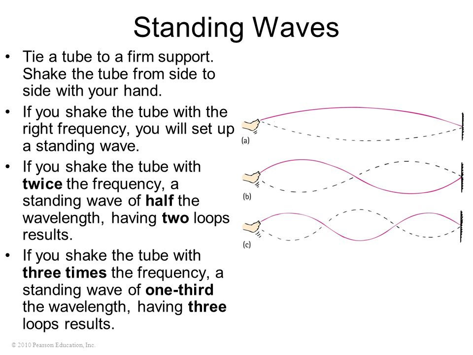 © 2010 Pearson Education, Inc. Standing Waves Tie a tube to a firm support. Shake the tube from side to side with your hand. If you shake the tube wit