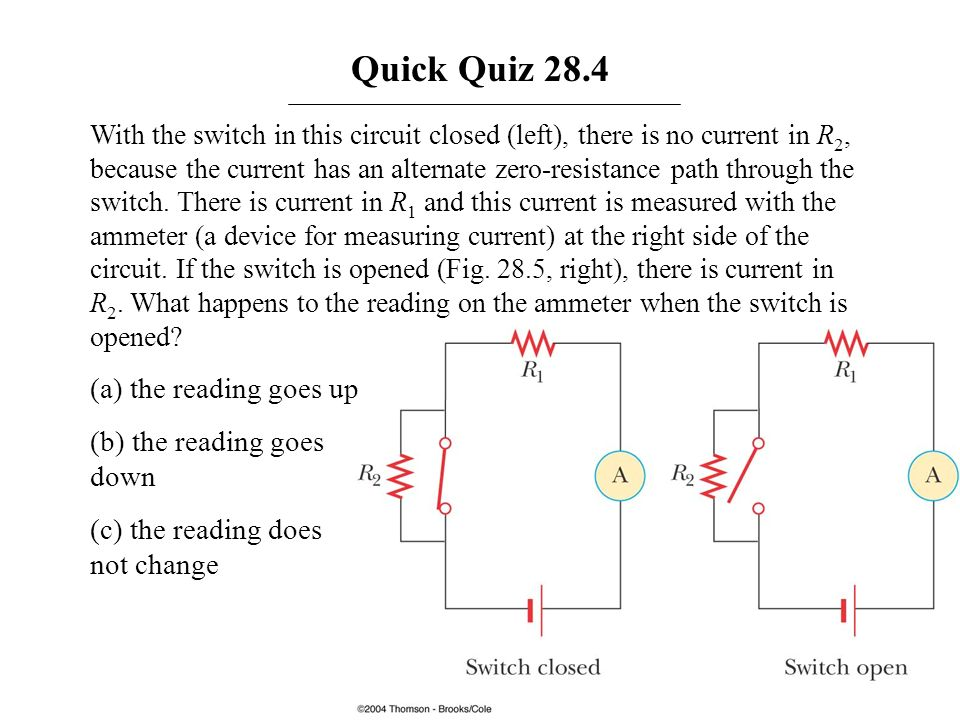 Quick Quiz 28.4 With the switch in this circuit closed (left), there is no current in R 2, because the current has an alternate zero-resistance path t