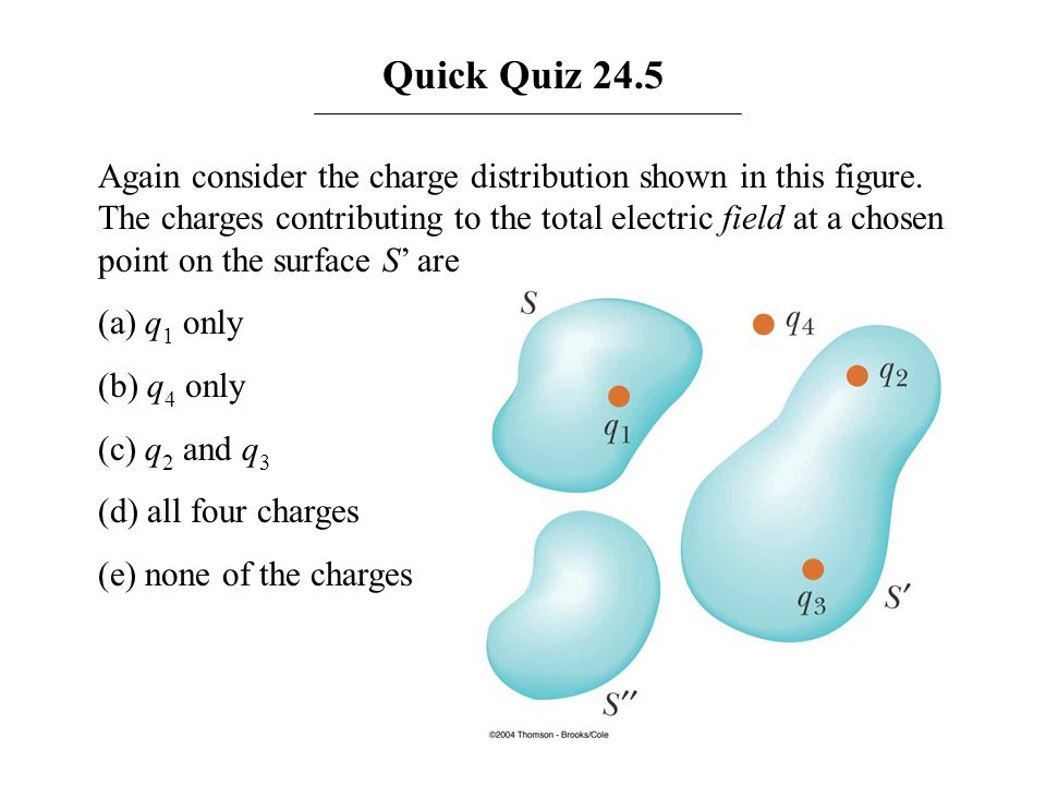 Quick Quiz 24.5 Again consider the charge distribution shown in this figure. The charges contributing to the total electric field at a chosen point on