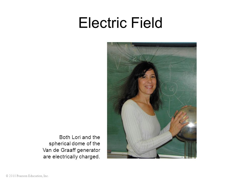 © 2010 Pearson Education, Inc. Electric Field Both Lori and the spherical dome of the Van de Graaff generator are electrically charged.