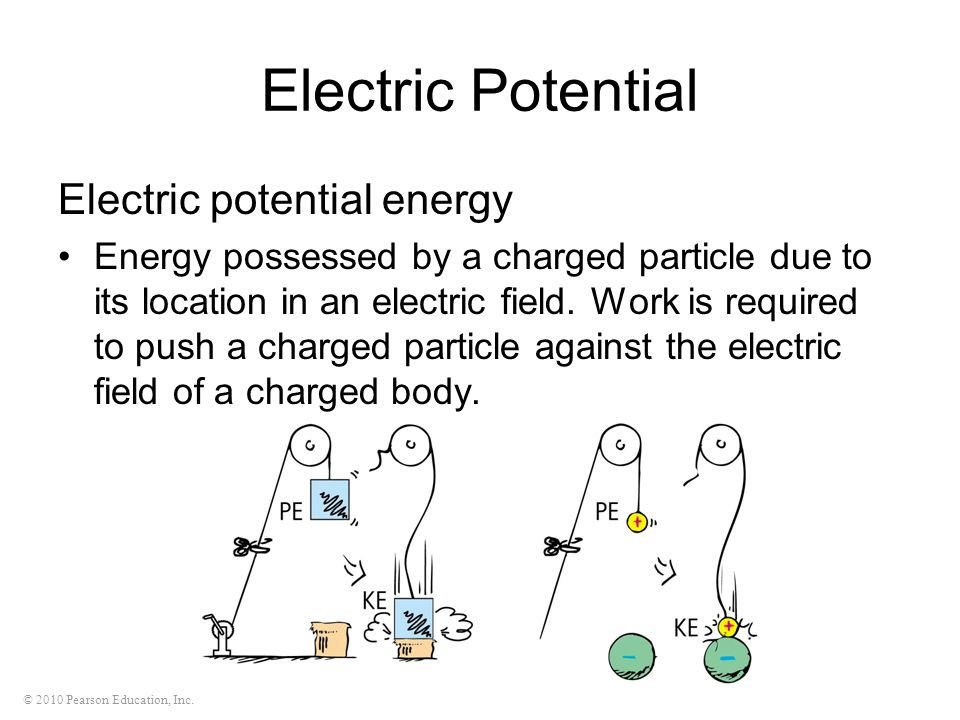 © 2010 Pearson Education, Inc. Electric Potential Electric potential energy Energy possessed by a charged particle due to its location in an electric