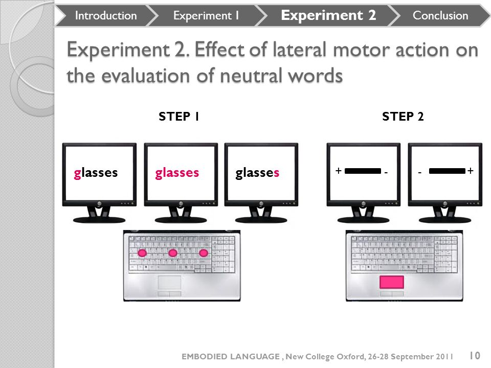 Experiment 2. Effect of lateral motor action on the evaluation of neutral words Experiment 2. Effect of lateral motor action on the evaluation of neut