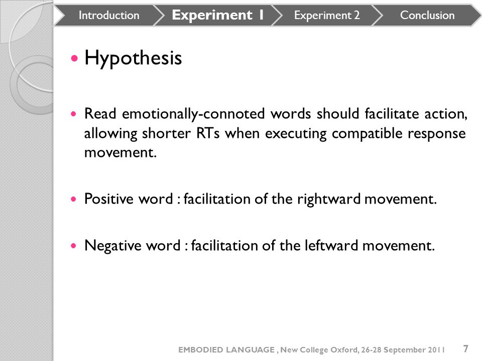 Hypothesis Read emotionally-connoted words should facilitate action, allowing shorter RTs when executing compatible response movement. Positive word :