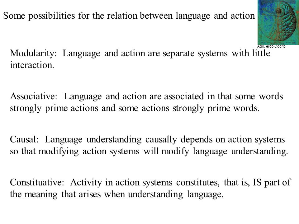 Ago, ergo Cogito Some possibilities for the relation between language and action Modularity: Language and action are separate systems with little inte