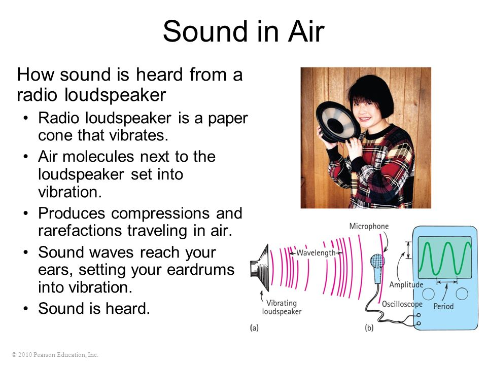© 2010 Pearson Education, Inc. Sound in Air How sound is heard from a radio loudspeaker Radio loudspeaker is a paper cone that vibrates. Air molecules