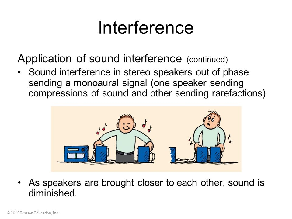 © 2010 Pearson Education, Inc. Application of sound interference (continued) Sound interference in stereo speakers out of phase sending a monoaural si