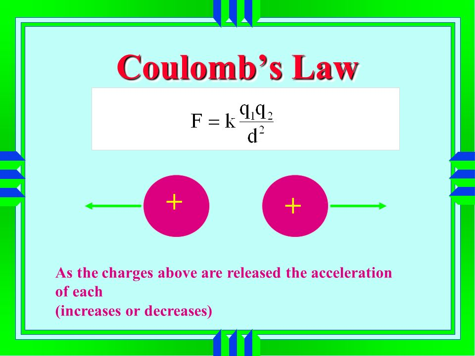 Coulombs Law As the charges above are released the acceleration of each (increases or decreases) + +