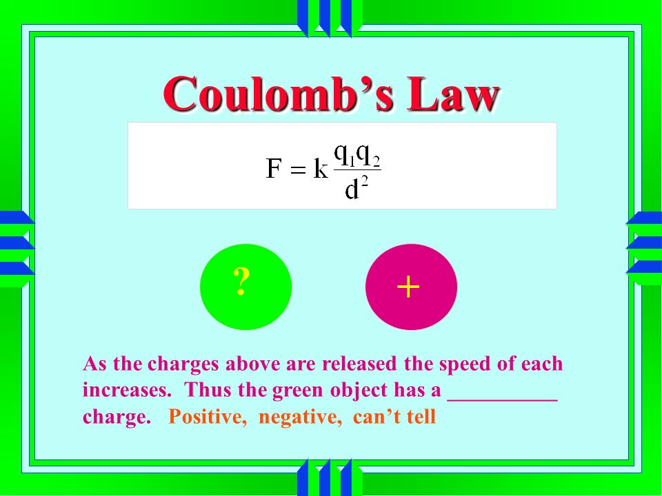 Coulombs Law As the charges above are released the speed of each increases.