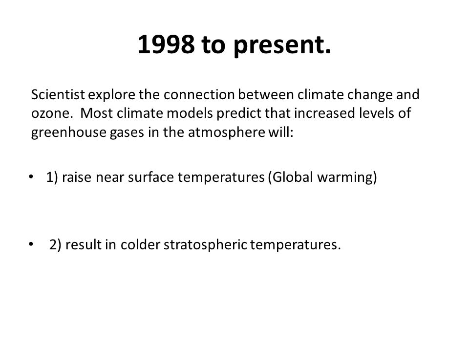 1998 to present. Scientist explore the connection between climate change and ozone.