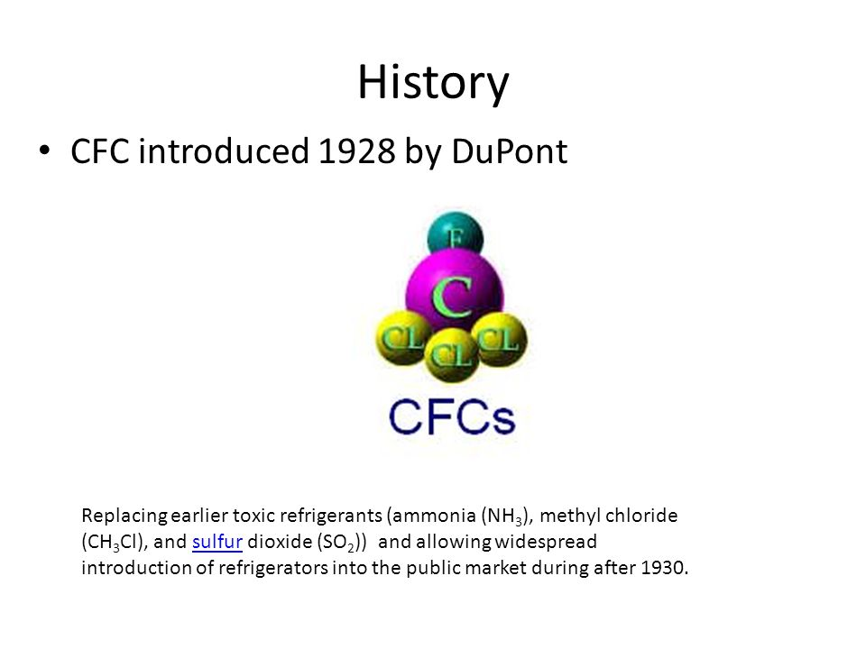 History CFC introduced 1928 by DuPont Replacing earlier toxic refrigerants (ammonia (NH 3 ), methyl chloride (CH 3 Cl), and sulfur dioxide (SO 2 )) and allowing widespread introduction of refrigerators into the public market during after 1930.sulfur