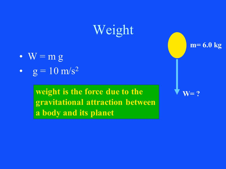 Weight W = m g g = 10 m/s 2 weight is the force due to the gravitational attraction between a body and its planet W= ? m= 6.0 kg