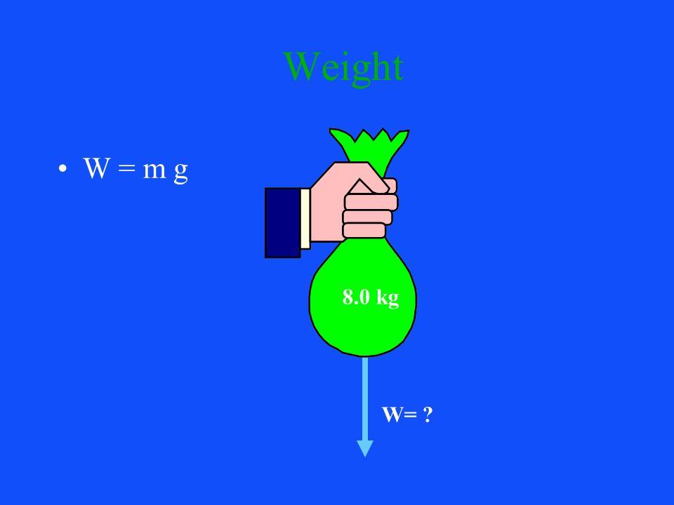 Weight W = m g W= ? 8.0 kg