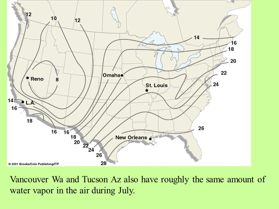 Vancouver Wa and Tucson Az also have roughly the same amount of water vapor in the air during July.