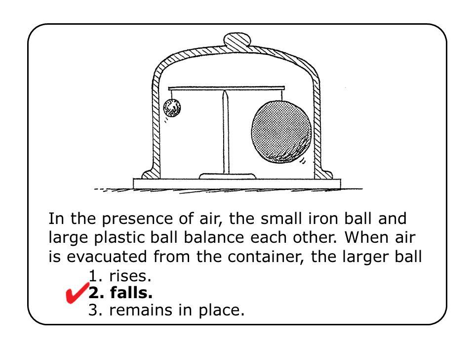 In the presence of air, the small iron ball and large plastic ball balance each other. When air is evacuated from the container, the larger ball