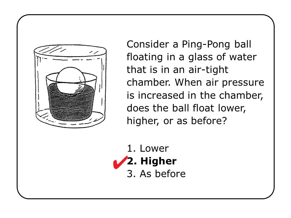 Consider a Ping-Pong ball floating in a glass of water that is in an air-tight chamber. When air pressure is increased in the chamber, does the ball f