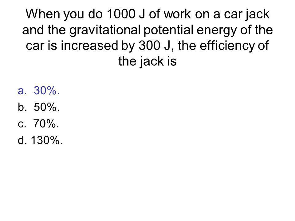 a. 30%. b. 50%. c. 70%. d. 130%. When you do 1000 J of work on a car jack and the gravitational potential energy of the car is increased by 300 J, the