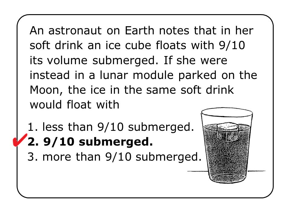 An astronaut on Earth notes that in her soft drink an ice cube floats with 9/10 its volume submerged. If she were instead in a lunar module parked on