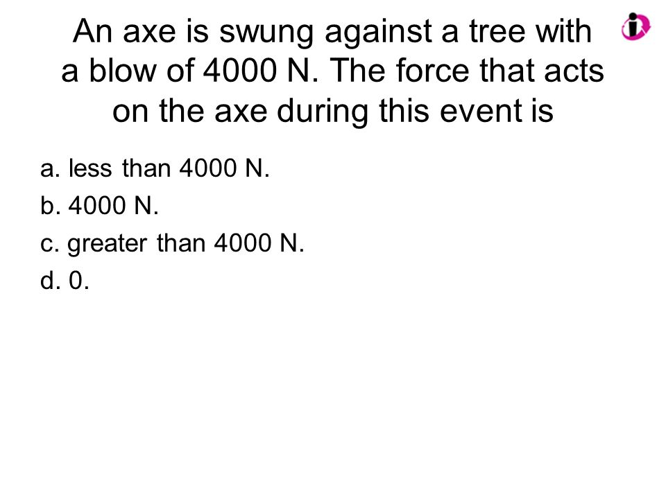 An axe is swung against a tree with a blow of 4000 N. The force that acts on the axe during this event is a. less than 4000 N. b. 4000 N. c. greater t