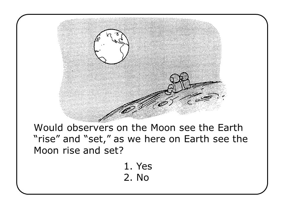 Would observers on the Moon see the Earth rise and set, as we here on Earth see the Moon rise and set? 1. Yes 2. No