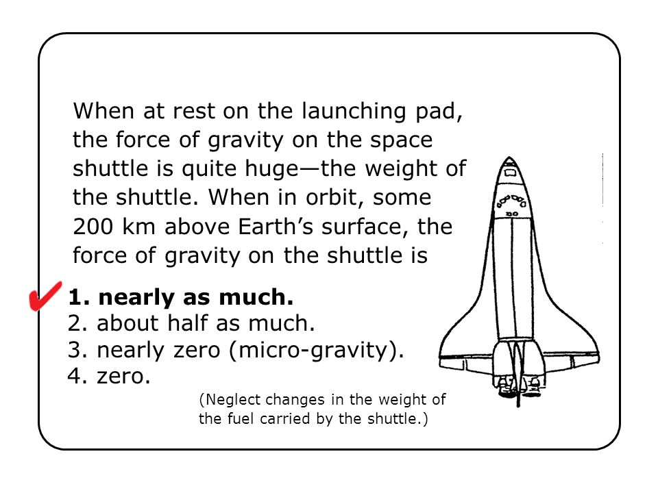 1. nearly as much. 2. about half as much. 3. nearly zero (micro-gravity). 4. zero. (Neglect changes in the weight of the fuel carried by the shuttle.)