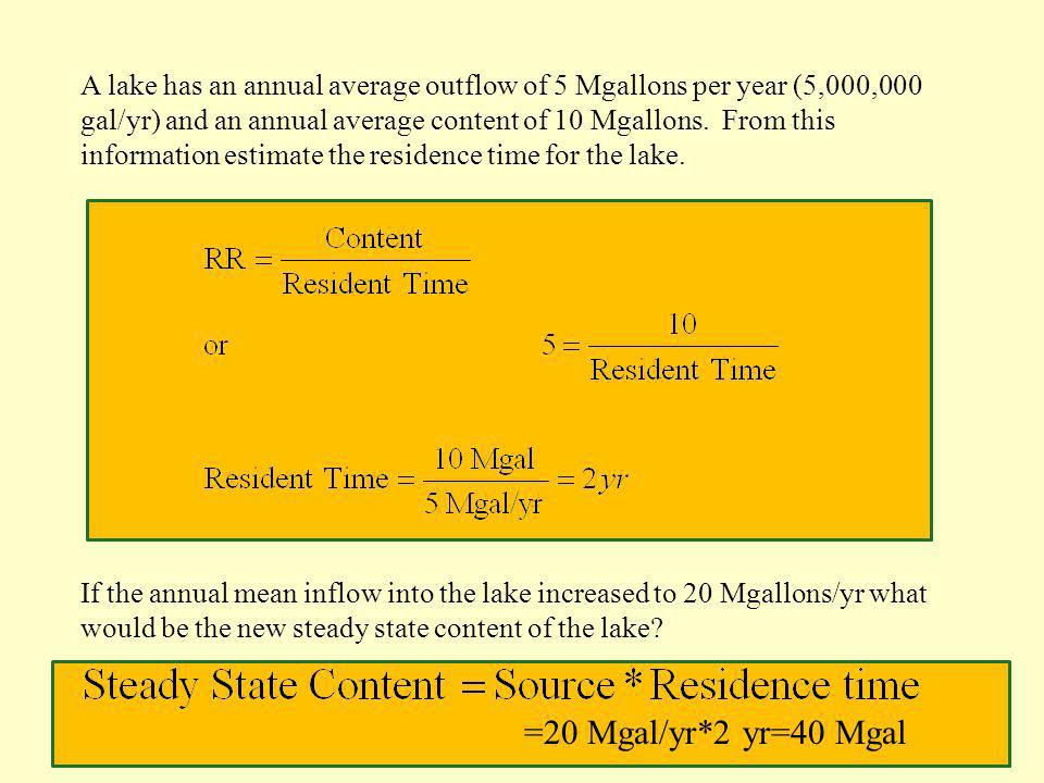 A lake has an annual average outflow of 5 Mgallons per year (5,000,000 gal/yr) and an annual average content of 10 Mgallons. From this information est