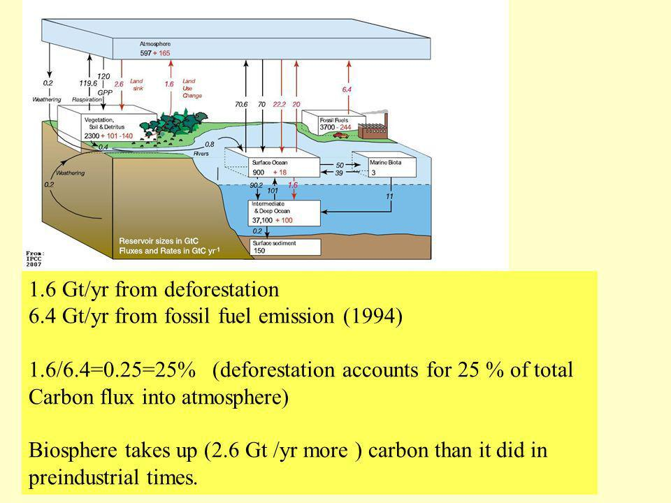 Carbon Cycle 1.6 Gt/yr from deforestation 6.4 Gt/yr from fossil fuel emission (1994) 1.6/6.4=0.25=25% (deforestation accounts for 25 % of total Carbon
