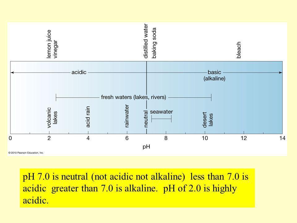 pH 7.0 is neutral (not acidic not alkaline) less than 7.0 is acidic greater than 7.0 is alkaline. pH of 2.0 is highly acidic.