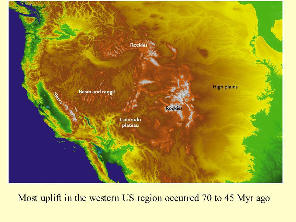 Most uplift in the western US region occurred 70 to 45 Myr ago